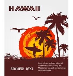 Silhouette surfer tropical beach vector