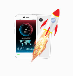 Smartphone with speed test meter and rocket vector