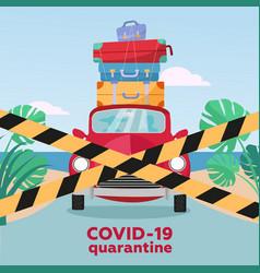 Summer trip under virus quarantine - closed vector