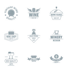 Vine quality logo set simple style vector