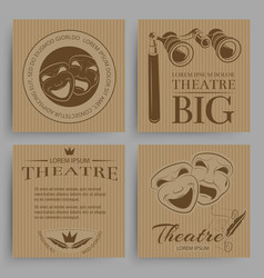Vintage theatre cards collection with theatre vector