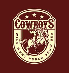 wild west rodeo show vintage badge vector image