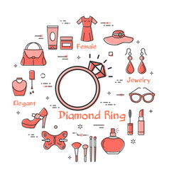 woman accessories concept with red diamond ring vector image