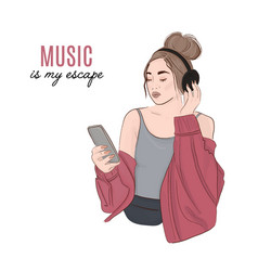 Woman with headphones listening to music vector