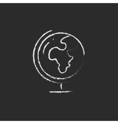 World globe on stand icon drawn in chalk vector image