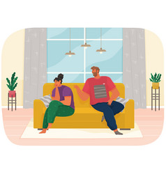 Young couple sitting on couch quarreling at home vector