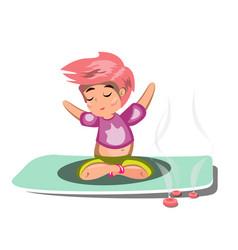 pretty woman exercising yoga poses vector image