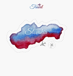 Travel around the world Slovakia Watercolor map vector image vector image