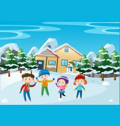 Winter scene with children standing in front of vector
