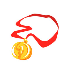 gold first place medal cartoon vector image