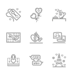 Greetings for Valentines Day line icons vector image