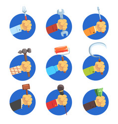 Hands holding tools set mans hand with the symbol vector