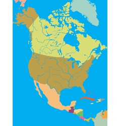 political map of North America vector image