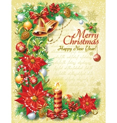 Vintage Christmas template vector image