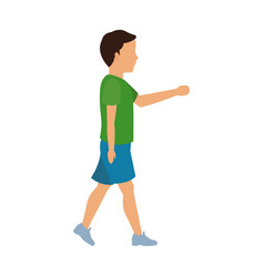 Boy young walking with green tshirt and blue short vector