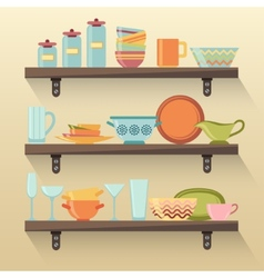 Kitchen shelves with colorful tableware vector image vector image