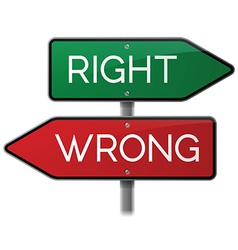 Right vs Wrong Street Sign vector image vector image