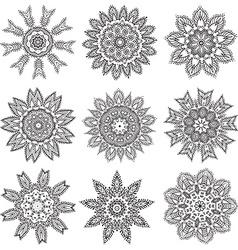 Set Hand drawing zentangle mandala elements vector image vector image