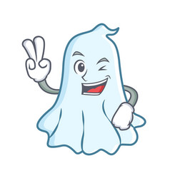 two finger cute ghost character cartoon vector image