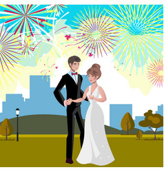 wedding invitation card with couple and firework vector image