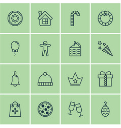 set of 16 new year icons includes christmas toy vector image vector image