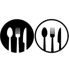 sign with spoon fork and knife vector image vector image