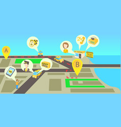 taxi services horizontal banner cartoon style vector image vector image