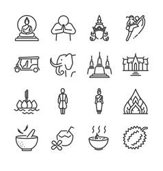 thai icon set vector image