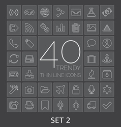 40 Trendy Thin Line Icons for Web and Mobile Set 2 vector image