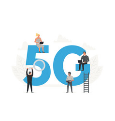 5g network wireless concept office people sitting vector image