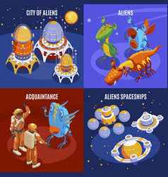 aliens isometric composition vector image