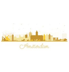 amsterdam holland city skyline silhouette vector image