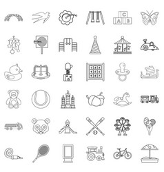 amusing icons set outline style vector image