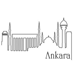 Ankara city one line drawing background vector