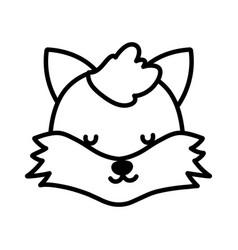 baby shower cute fox head close eyes animal vector image