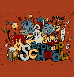 Back to school monster doodle for your vector