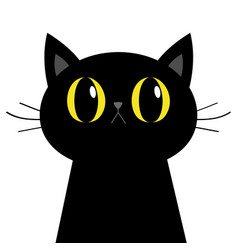 black cat silhouette big yellow eyes moustaches vector image