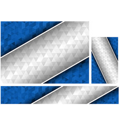 blue and white polygonal backgrounds set vector image