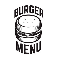 Burger emblem design element for logo label vector