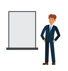 Businessman looking at blank board cartoon flat vector