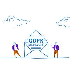 businessmen near letter in envelope general data vector image