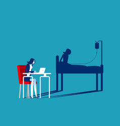 businesswoman office working and health shadow vector image