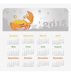 Calendar 2015 year with crab vector