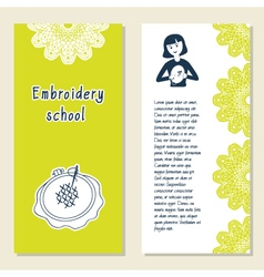 Cards template for embroidery school studio or vector
