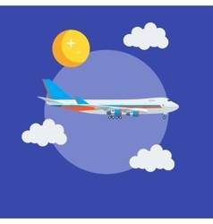 Cargo jet airplane flying in the sky vector