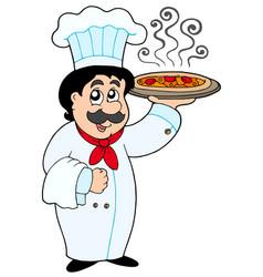 cartoon chef holding pizza vector image