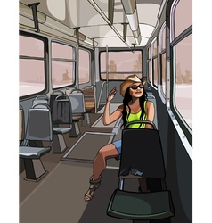cartoon girl in the hat travels to the old tram vector image