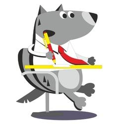 Cartoon wolf businessman 05 vector image