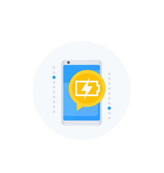 charging battery notification on screen icon vector image