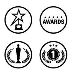 cinema award icons black vector image